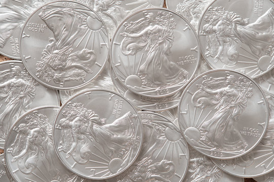 Silver coins american eagle top view