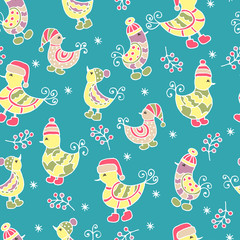 Aluminium Prints Cats Seamless pattern with hand-drawn birds in winter hats