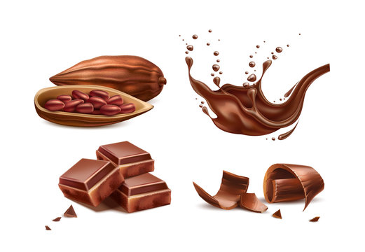 Vector realistic chocolate splash with bar pieces