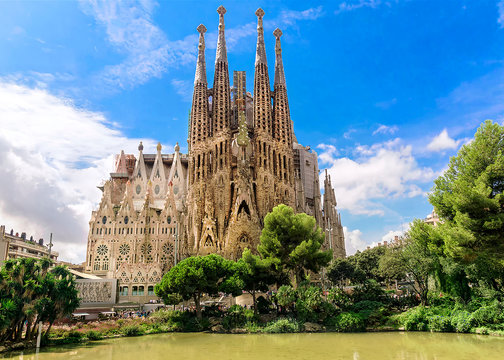 BARCELONA, SPAIN - SEPTEMBER 15: Sagrada Familia of 2015 in Barcelona. Sagrada a surname - the most known the buildings created by Antoni Gaudi.