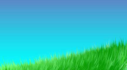 Fotobehang Turkoois Green grass meadow background. Border pattern on blue sky spring or summer. Field, lawn organic, bio, eco. High fresh digital imitation, blend. Vector illustration Eps 10.