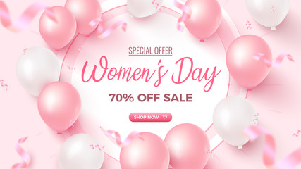 Women's Day Special Offer. 70% Off Sale banner design with white frame, pink and white air balloons on rosy background