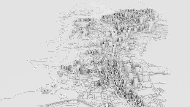 3D white city model. Outline 3D illustration