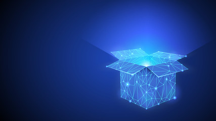 The Box wich Shining Inside of It Polygonal or Low Poly Neon Symbol. Abstract Geometric Dark Blue Background. Wireframe Light Connection Structure with Triangles Lines Dots Stars. Digital illustration