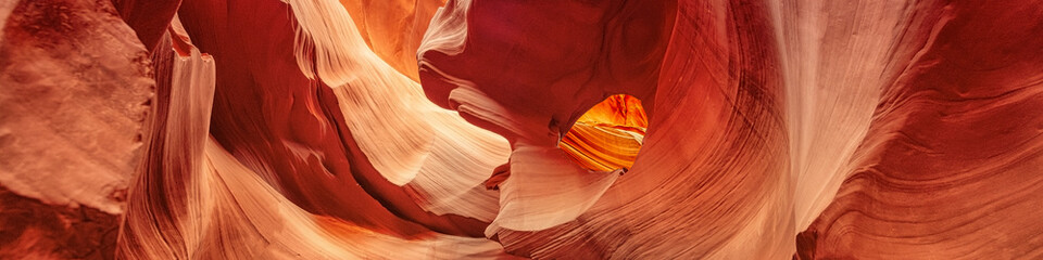 Foto op Plexiglas Antilope Panoramic Canyon Antelope, slot canyon near Page, Arizona, America. Abstract background concept.