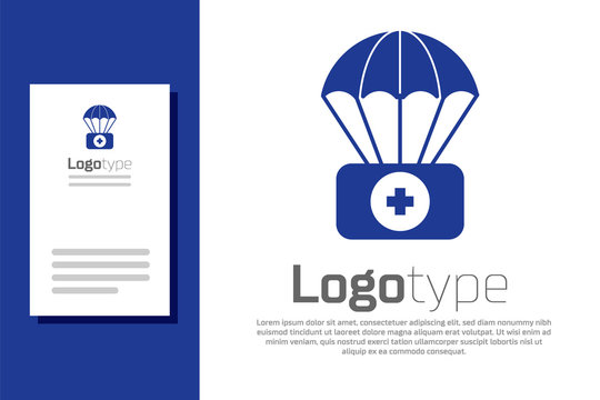 Blue Parachute with first aid kit icon isolated on white background. Medical insurance. Logo design template element. Vector Illustration