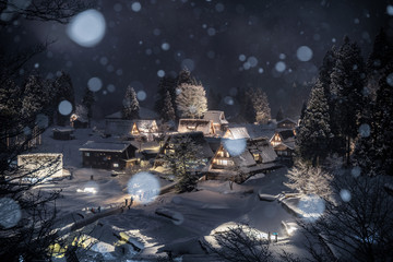 冬の五箇山 相倉集落 ライトアップ
