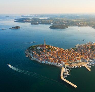 Beautiful Rovinj at sunrise. Aerial photo. The old town of Rovinj, Istria, Croatia