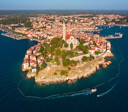 Beautiful Rovinj. Aerial photo. The old town of Rovinj, Istria, Croatia