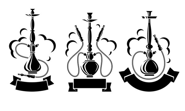 Hookah set. Collection icons hookah. Vector
