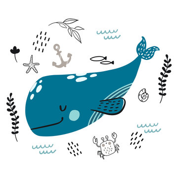 Vector doodle blue whale underwater life pattern
