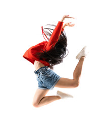 Young asian dancer over isolated white background