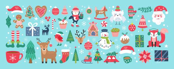 Obraz Christmas holiday cute elements set. - fototapety do salonu