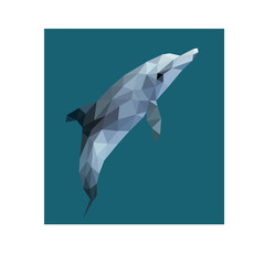 Poster Geometric animals Low poly illustration of dolphin