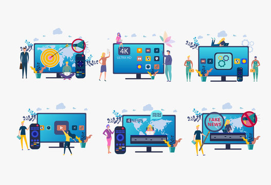 People watch videos with a remote control and a television multimedia box. Television console, smart set-top box. Colorful vector illustration