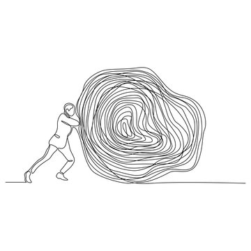 continuous line drawing of man pushing stone vector illustration