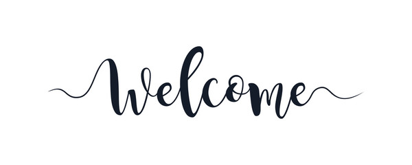 Welcome text lettering hand written calligraphy isolated on white background vector illustration