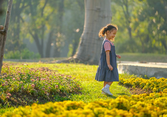 Soft blur image of little Asian girl look happy to play among flower garden with morning light.
