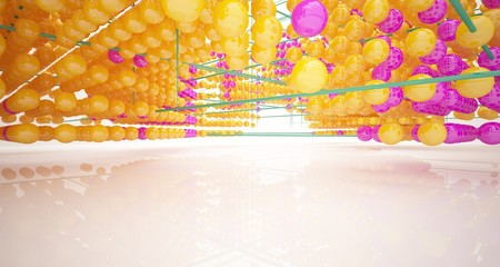 Abstract white interior from array colored spheres with window. 3D illustration and rendering. Fotoväggar
