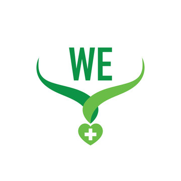 Initial Letter we Creative Health Green Logo Company