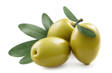 Close-up of olives with olive leaves, isolated on white