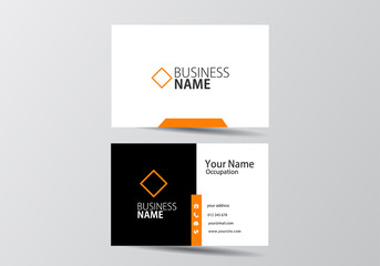 Orange modern business card. visiting card template