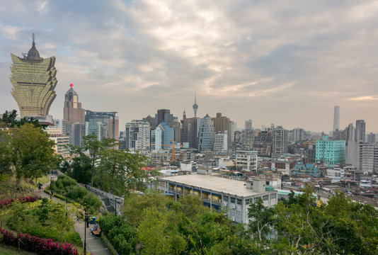 Panoramic view of the cityscape of Macau, China. Modern and old buildings of Macao city.