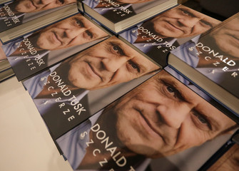"""Books of Donald Tusk, a Polish politician and former European Council President, are seen during a promotion of his personal diary, """"Szczerze"""" (Sincerely) in Warsaw"""