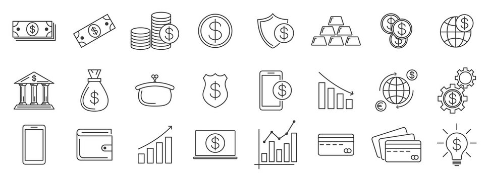 Money and finance outline icons - vector.