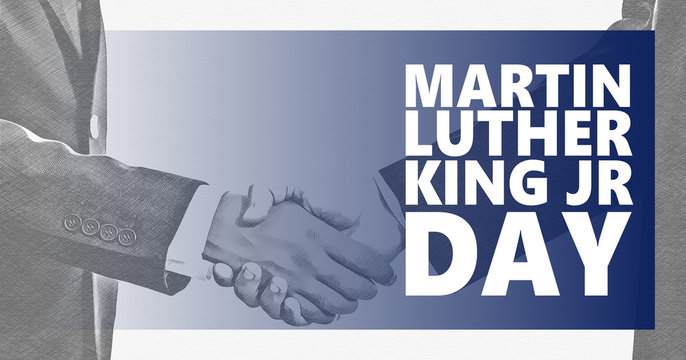 Martin Luther King jr day. White and black handshaking background.