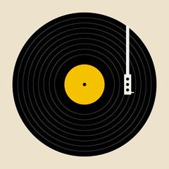 Vinyl record. Vintage vinyl record disk with empty white label on orange background. retro sound technology to play music