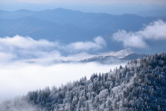 Landscape from Clingmans Dome with snow, fog, and frosted trees, Great Smoky Mountains National Park, Tennessee, USA