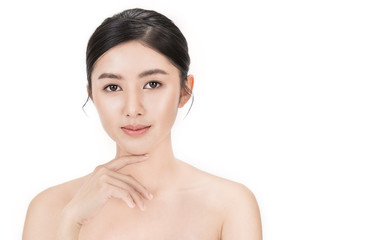 Closeup portrait of asian fair perfect healthy glow skin woman isolated on white background, asian beautiful girl with pretty smile on her face. Beauty clinic skincare spa and surgery concept Fotomurales