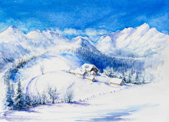 Winter mountain landscape with wooden houses and blue sky. Picture created with watercolors.