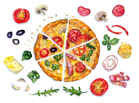 Watercolor flatlay composition with pizza and ingredients on white