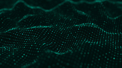 Foto auf Acrylglas Schwarz Wave of particles. Abstract green background with a dynamic wave. Big data visualization. 3d rendering.