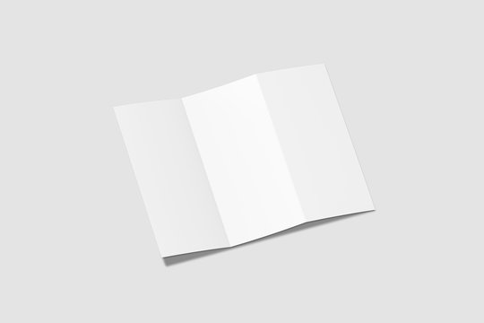Blank white z fold brochure Mock up on light gray background.3D rendering.