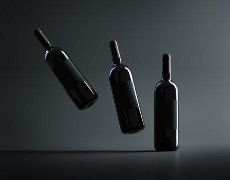Three red wine bottles mockup. 3D render