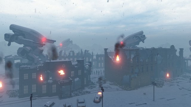 Huge military robots are shelling the destroyed post-apocalyptic city. View of the Apocalypse. 3D Rendering