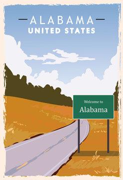 Alabama road sign retro poster. USA Alabama travel illustration.