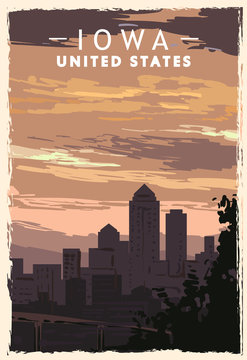 Iowa city skyline retro poster. USA Iowa travel illustration. United