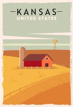 Kansas retro poster. USA Kansas travel illustration. United States of America greeting card.