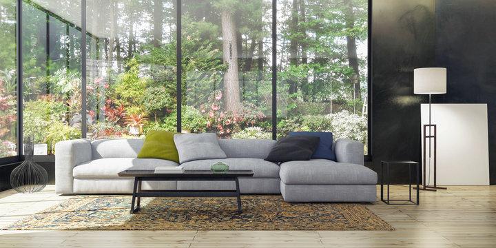 Modern Living room in the garden