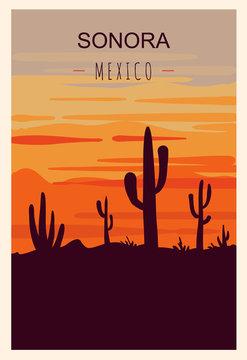 Sonora retro poster. Sonora travel illustration. States of Mexico