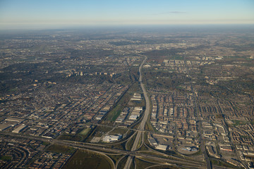 Aerial view west from intersection of highway 407 and 400 north Toronto and Vaughan Fototapete