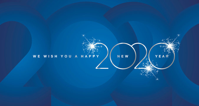 We wish You Happy New Year 2020 firework silver modern design light typography numbers blue greeting card