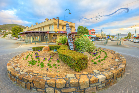 Albany, Australia - Dec 28, 2017: Old Ships Anchor and Premier Hotel, built in 1891, heritage listed building located on the corner of York Street and Grey Street, Albany, Western Australia at sunset.