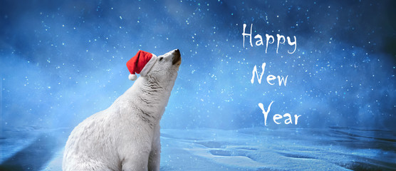 "Polar bear wearing Christmas hat, snowflakes and sky. Winter landscape with ""Happy New Year"" inscription, panoramic image"