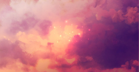 Beatiful Sky with Clouds Artistic Background. Craft Painting Landscape
