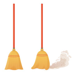Cartoon broom set. A broom sweeps dust and dirt. Equipment and tools for cleaning the element isolated on a white background. Household, cleaning services, housewives,concept. Vector illustration.